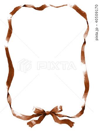 水彩で描いたセピア色のリボン枠 40509170