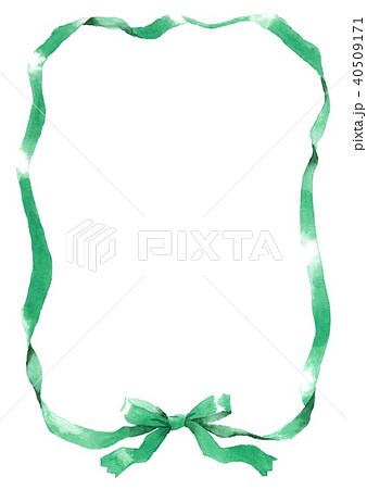 水彩で描いたグリーンのリボン枠 40509171