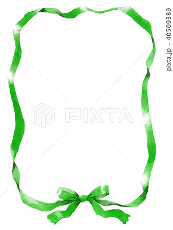 水彩で描いたグリーンのリボン枠 40509389