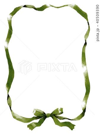 水彩で描いたダークグリーンのリボン枠 40509390