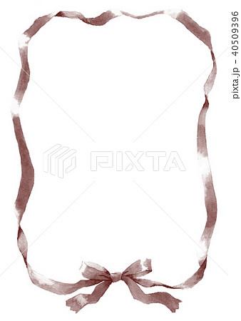 水彩で描いたグレーのリボン枠 40509396