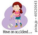女子 アクシデント 事故のイラスト 40520043