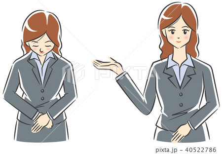 案内とお辞儀する女性のイメージイラストセット 40522786