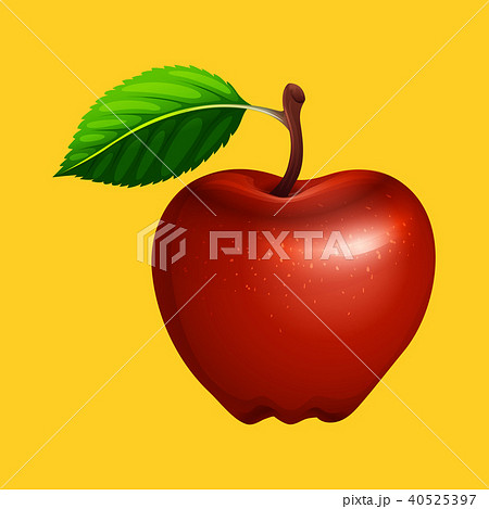 A Red Apple on Yellow Background 40525397