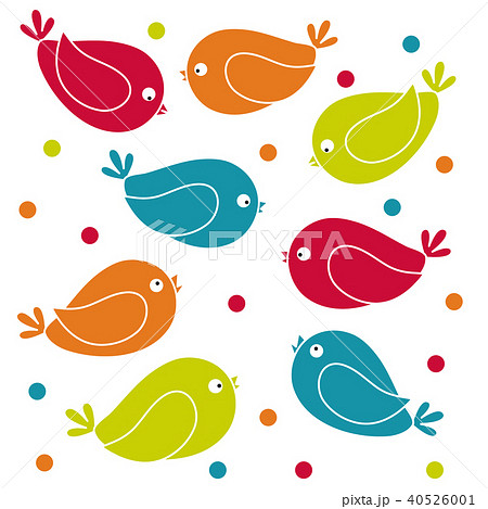 Cute picture with colorful cartoon birds 40526001