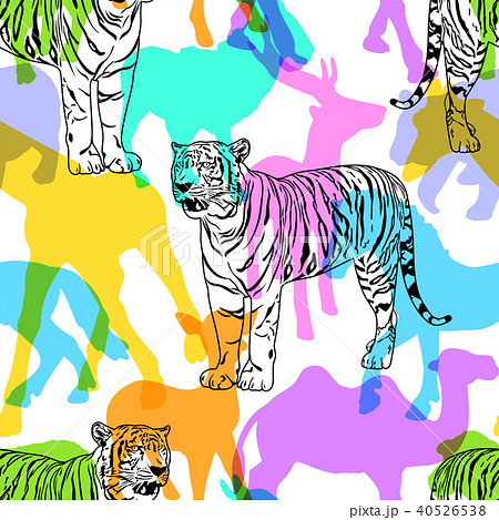 tiger with colorful silhouette wildlife animal のイラスト素材