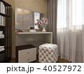 3D render of interior design of a bedroom in beige color 40527972
