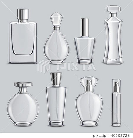 Perfume Glass Bottles Realistic Set 40532728
