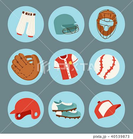 Baseball sport competition game team symbol softball play cartoon icons design sporting equipment 40539873