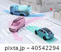 車間通信で交差点に行き来する車両の位置、速度情報を共有し、事故回避。コネクテッドカーコンセプト 40542294