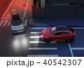 自動車 自動運転 出会い頭のイラスト 40542307