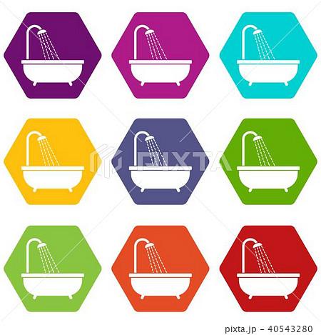shower icon set color hexahedronのイラスト素材 40543280 pixta