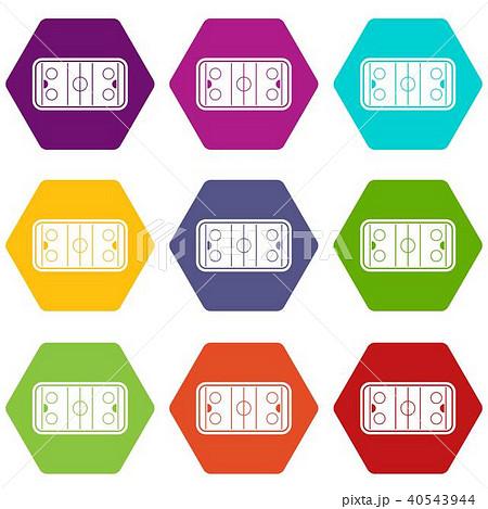 stadium icon set color hexahedronのイラスト素材 40543944 pixta
