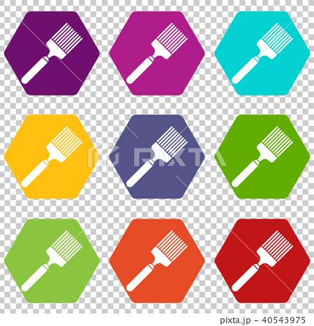 brush icon set color hexahedronのイラスト素材 40543975 pixta