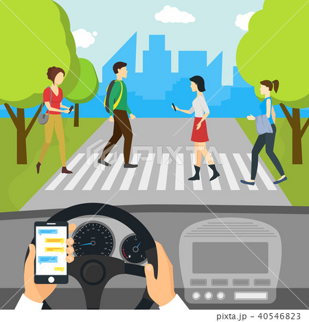 Cartoon Using Smartphone Driving Car Card Poster. Vector 40546823