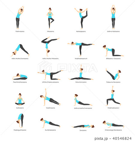 Cartoon Woman Yoga Poses Icons Set. Vector 40546824