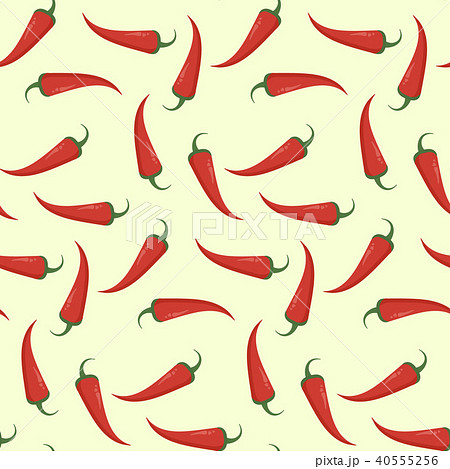 Bright flat pattern with red chili pepper 40555256