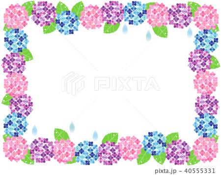 紫陽花6 フレームのイラスト素材