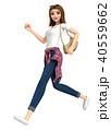 3D イラスト - ジーンズ姿の女性が走っています 40559662