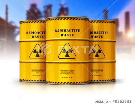 Group of yellow drums with radioactive waste 40562533