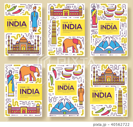 india vector brochure cards thin line set country travel template