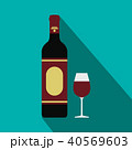 Red wine bottle and glass icon, flat style 40569603