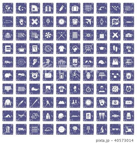 100 time icons set grunge sapphire 40573014
