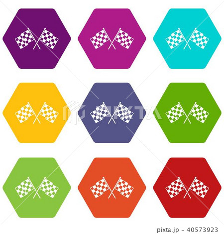 checkered racing flags icon set color hexahedronのイラスト素材