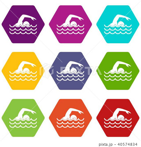 Swimmer icon set color hexahedron 40574834