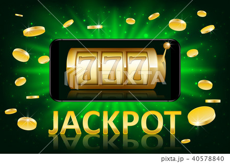 Jackpot shiny gold casino label with money coins. Casino jackpot winner poster gamble with text 40578840