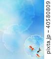和の背景-和紙-青-金魚 40580809