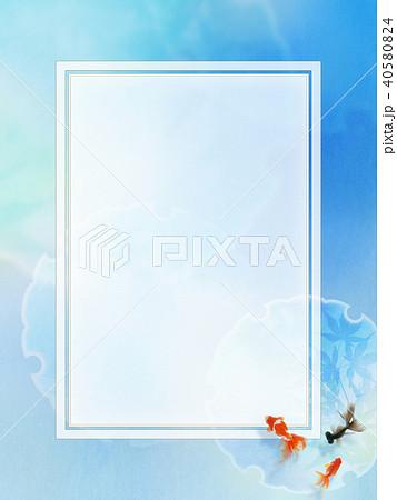 和の背景-和紙-青-金魚 40580824