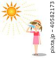 女の子 熱中症 猛暑のイラスト 40582173