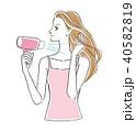 髪を乾かす女性 40582819