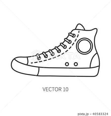 Retro travel shoe sneaker vector line icon.のイラスト素材