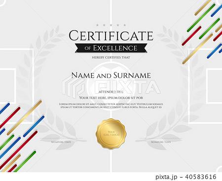 certificate template sport color stripe themeのイラスト素材