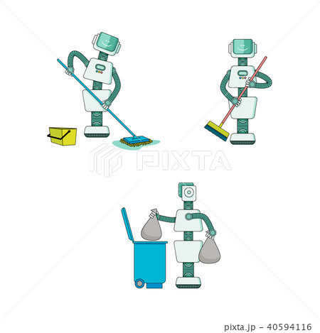Robot doing housework collection - android cleans house, sweeps and washes floor, takes out trash. 40594116
