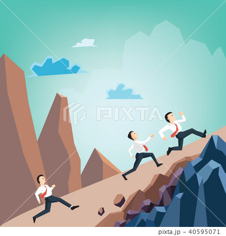 Businessman running racing on mountain 40595071