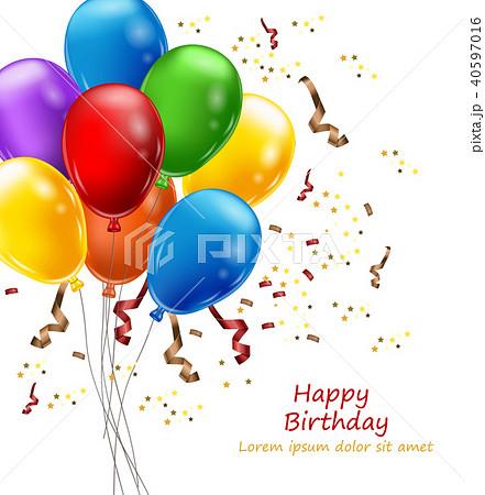 balloons party invitation card vectorのイラスト素材 40597016 pixta