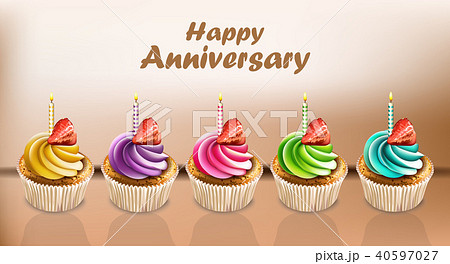 Happy Anniversary Cupcakes card Vector 40597027