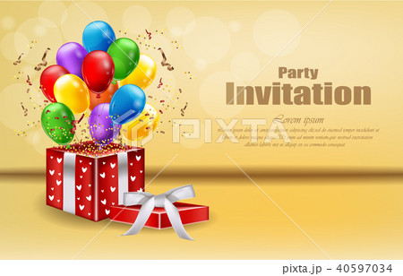 party invitation card with gifts and balloonsのイラスト素材