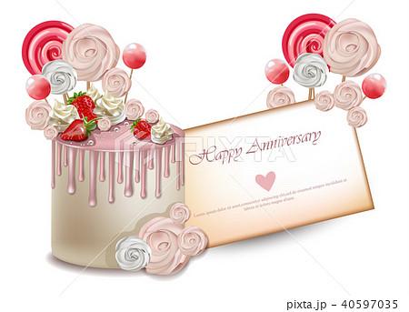 Happy Birthday cake card Vector realistic 40597035