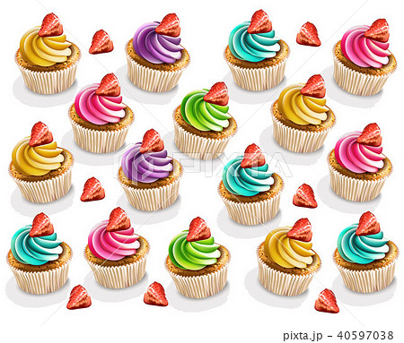 Cupcakes colorful pattern Vector realistic 40597038
