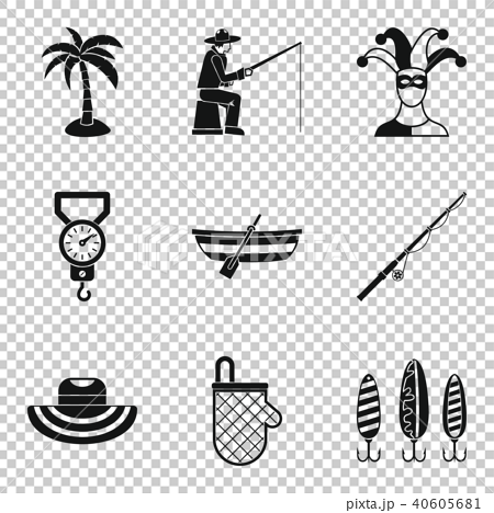 Hobby for relaxation icons set, simple style 40605681