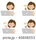 ポップな半袖の女性 PC操作 ポジティブ 40608353
