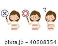 ポップな半袖の女性 〇×ハテナ 40608354