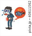 食中毒 腹痛 魚のイラスト 40611562