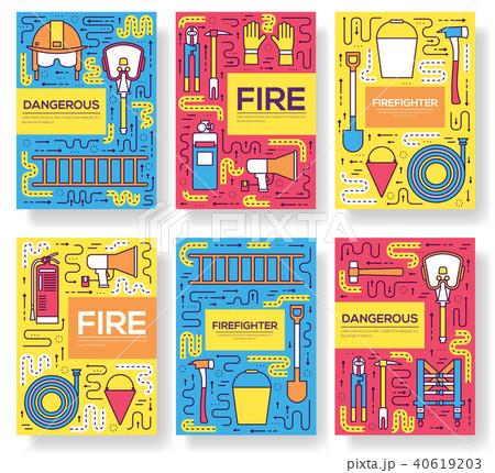 flat firefighter uniform vector brochure cards thin line set first