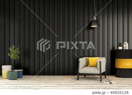 Interior living room  metal sheet wall. 3d render 40620136