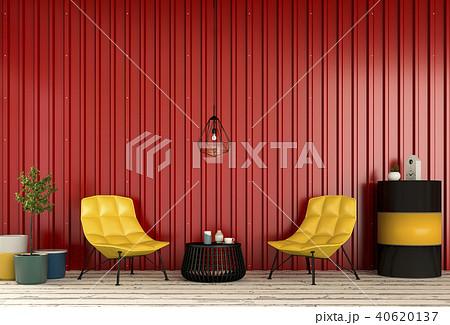 Interior living room  metal sheet wall. 3d render 40620137